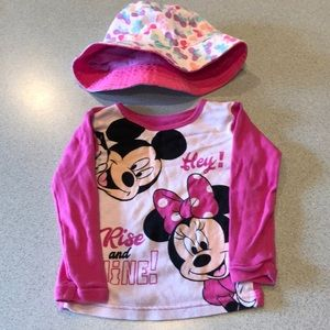 Disney shirt and summer bonnet